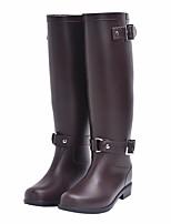 Недорогие -Жен. Обувь Резина Осень Резиновые сапоги Ботинки На низком каблуке Черный / Коричневый
