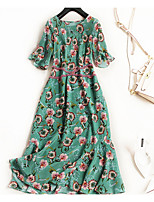 cheap -TS - Miss French Women's Simple / Street chic Flare Sleeve T Shirt Dress - Floral Ruffle
