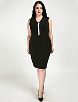cheap -Cute Ann Women's Basic / Street chic Sheath / Little Black Dress - Solid Colored / Color Block Black & White
