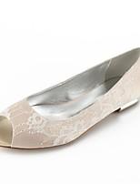 preiswerte -Damen Schuhe Spitze Sommer Komfort / Ballerina Hochzeit Schuhe Flacher Absatz Peep Toe Silber / Champagner / Elfenbein