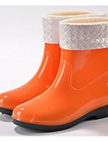 Недорогие -Жен. Обувь КожаПВХ Весна Резиновые сапоги Ботинки На плоской подошве Черный / Оранжевый / Синий