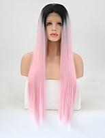 abordables -Perruque Lace Front Synthétique Droit Coupe Dégradée Ligne de Cheveux Naturelle Rose Femme Dentelle frontale Perruque Naturelle Long