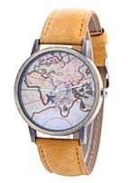 Недорогие -Жен. Наручные часы Китайский Крупный циферблат / Повседневные часы PU Группа Винтаж / World Map Pattern Черный / Белый / Синий