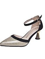 abordables -Femme Chaussures Faux Cuir Printemps été Escarpin Basique Chaussures à Talons Talon Bobine Bout pointu Paillette Or / Argent / Mariage