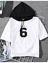 cheap -women's t-shirt - color block hooded