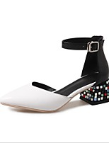 cheap -Women's Shoes Cowhide Summer Basic Pump Heels Chunky Heel Pointed Toe Rhinestone White / Black / Red