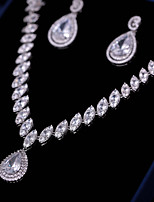cheap -Women's Cubic Zirconia Jewelry Set - Fashion, Elegant Include Drop Earrings / Pendant Necklace White For Wedding / Party