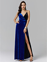 cheap -A-Line Spaghetti Straps Ankle Length Spandex Formal Evening Dress with Sash / Ribbon Split Front Side Draping by TS Couture®