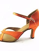 baratos -Mulheres Sapatos de Dança Latina Seda Sandália / Salto Espetáculo / Ensaio / Prática Salto Agulha Sapatos de Dança Laranja
