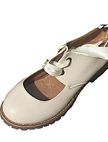 abordables -Femme Chaussures Polyuréthane Eté Confort Oxfords Talon Bottier Bout rond pour Décontracté De plein air Noir Beige Rouge