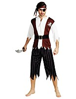 cheap -Pirates of the Caribbean Outfits Men's Halloween / Carnival / Day of the Dead Festival / Holiday Halloween Costumes Coffee Solid Colored