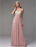 cheap -A-Line Spaghetti Strap Floor Length Chiffon Prom / Formal Evening Dress with Beading by TS Couture®