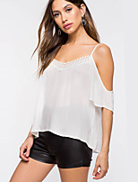 cheap -Women's Street chic Blouse - Solid Colored Lace / Backless / Cut Out