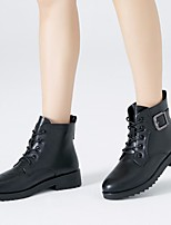cheap -Women's Shoes PU Winter Bootie Boots Chunky Heel Booties / Ankle Boots for Black / Red