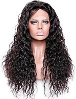 Недорогие -Не подвергавшиеся окрашиванию Лента спереди Парик Бразильские волосы Волнистый 180% плотность Женский Черный Короткие / Длинные / Средняя