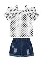 Недорогие -Дети Девочки Горошек С короткими рукавами Набор одежды