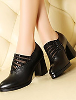 cheap -Women's Shoes Nappa Leather Spring & Summer Novelty Heels Chunky Heel Round Toe Black / Red