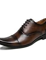 Недорогие -Муж. обувь Искусственное волокно / Полиуретан / Дерматин Осень Формальная обувь / Удобная обувь Туфли на шнуровке Черный / Коричневый
