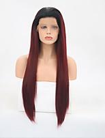 Недорогие -Синтетические кружевные передние парики Прямой Стрижка каскад Искусственные волосы Природные волосы Фиолетовый Парик Жен. Длинные Парик