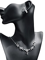 cheap -Women's Cubic Zirconia Jewelry Set - Leaf Sweet, Fashion Include Drop Earrings / Pendant Necklace White For Wedding / Party