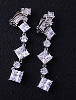 cheap -Women's Cubic Zirconia Clip Earrings - Fashion White For Wedding / Engagement