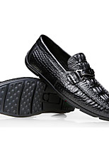 cheap -Men's Shoes Nappa Leather / Cowhide Spring Comfort Loafers & Slip-Ons Black