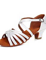cheap -Girls' Latin Shoes Synthetic Heel Low Heel Customizable Dance Shoes White / Indoor / Practice