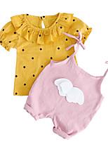 Недорогие -Дети (1-3 лет) Девочки Горошек С принтом С короткими рукавами Набор одежды