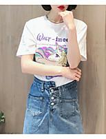 abordables -Tee-shirt Femme, Lettre - Coton / Coton / Eté / Lettre