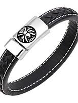 abordables -Homme Bracelets Rigides / Bracelets en cuir - Cuir, Inoxydable Rétro, Punk, Mode Bracelet Bleu de minuit / Café / Marron Pour Cadeau / Plein Air