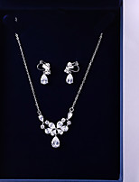 cheap -Women's Cubic Zirconia Jewelry Set - Drop, Flower Fashion, Elegant Include Drop Earrings / Pendant Necklace White For Wedding / Party