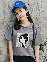 abordables -Tee-shirt Femme, Couleur Pleine / Portrait Imprimé Basique
