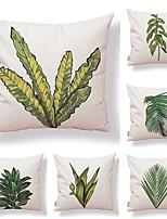 cheap -6 pcs Textile / Cotton / Linen Pillow case, Art Deco / Printing / Leaf Simple / Square Shaped