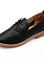 abordables -Femme Chaussures Gomme Eté Confort Oxfords Talon Plat Bout rond pour De plein air Noir Beige Marron
