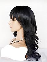 Недорогие -Натуральные волосы Полностью ленточные Парик Естественные кудри Волнистый Парик Удобный Нейтральный Парики из натуральных волос на кружевной основе