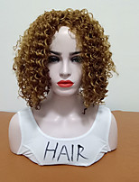 cheap -Synthetic Wig Curly Side Part Heat Resistant With Bangs Synthetic Brown Women's Capless Natural Wigs Mid Length Synthetic Hair Daily