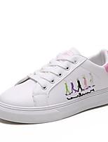 Недорогие -Жен. Обувь Полиуретан Весна лето Удобная обувь Кеды На плоской подошве Белый / Черный / Розовый