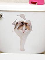 abordables -Autocollants de frigo Autocollants toilettes - Autocollants muraux animaux Animaux 3D Salle de séjour Chambre à coucher Salle de bain
