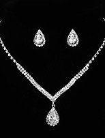 cheap -Women's Cubic Zirconia Jewelry Set - Sterling Silver Drop Classic, Vintage, Elegant Include Drop Earrings / Choker Necklace / Bridal