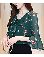 cheap -women's blouse - floral round neck