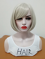 cheap -Synthetic Wig Straight Bob Haircut Synthetic Hair Women / Medium Size / With Bangs Sliver Wig Women's Mid Length Cosplay Wig Capless Daily