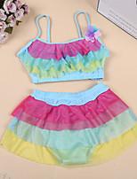 cheap -Kids Girls' Rainbow / Patchwork Sleeveless Swimwear