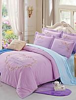 preiswerte -Bettbezug-Sets Blumen Polyester / Baumwolle 100% Baumwolle Stickerei 4 Stück