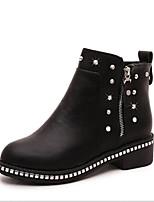 baratos -Mulheres Sapatos Couro Ecológico Outono Conforto Botas Sem Salto para Preto