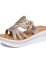 cheap -Women's Shoes Microfiber Summer Slingback Slippers & Flip-Flops Wedge Heel Open Toe Gold / Party & Evening