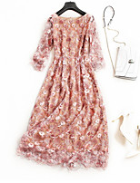 economico -Per donna Moda città Swing Vestito Fantasia floreale Medio