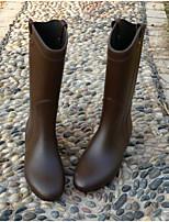 cheap -Women's Shoes PVC Fall & Winter Rain Boots Boots Flat Heel Mid-Calf Boots for Black / Gray / Brown
