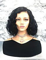 Недорогие -Remy Лента спереди Парик Бразильские волосы Кудрявый Боковая часть / Стрижка боб 130% плотность Короткие Жен. Парики из натуральных волос