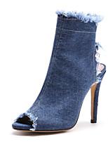 baratos -Mulheres Sapatos Jeans Outono & inverno Inovador / Conforto Botas Salto Agulha Peep Toe Botas Curtas / Ankle para Escritório e Carreira /
