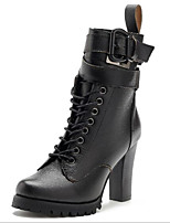 cheap -Women's Shoes Leather Spring Comfort Boots Flat Heel for Casual Black